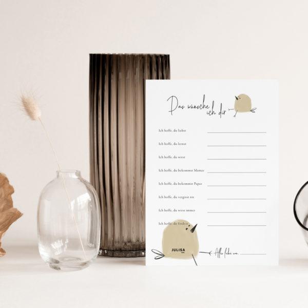 Baby Shower Wünsche Karten - JULISA