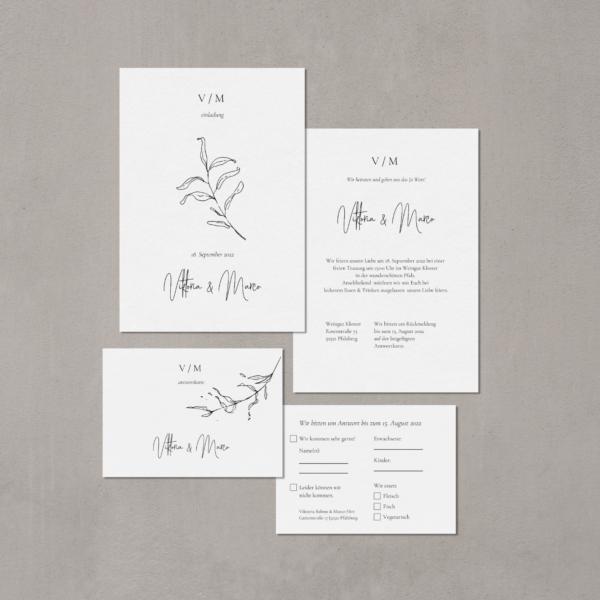 """Hochzeitspapeterie """"Apart"""" Einladung und Antwortkarte"""