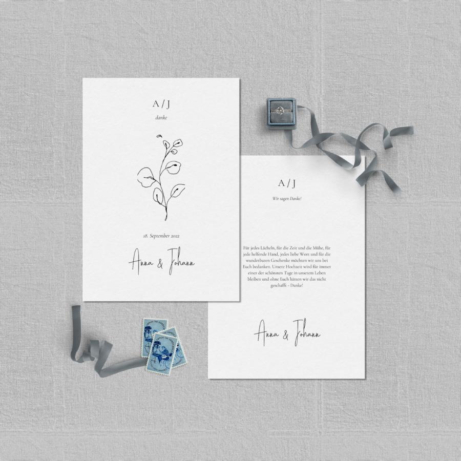 """Dankeskarte Hochzeitspapeterie Set """"Lucca"""""""