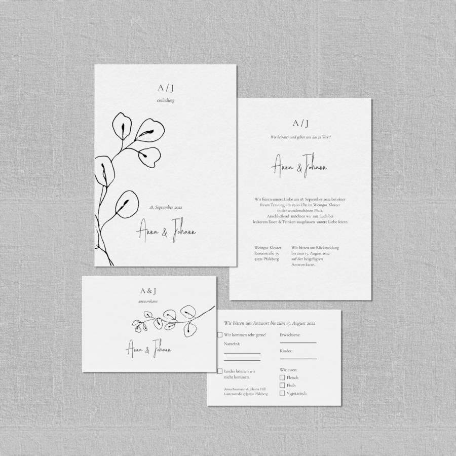 """Einladungskarte & Antwortkarte - Hochzeitspapeterie Set """"Lucca"""""""