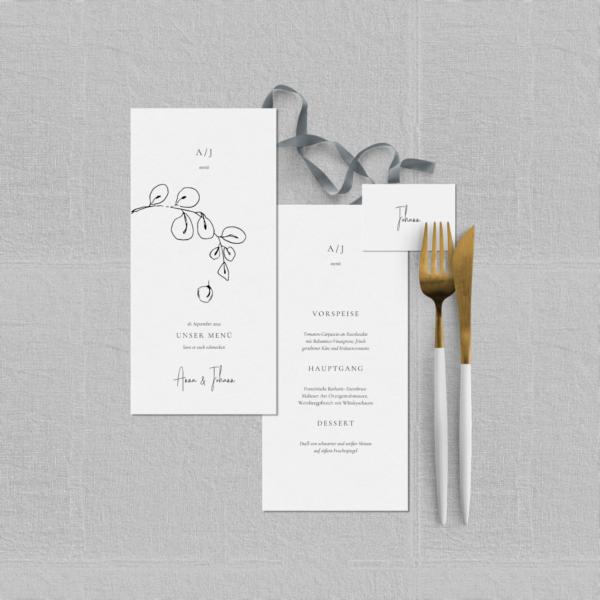"""Hochzeitsmenü Papeterie-Set """"Lucca"""" - Menü- & Tischkarte Hochzeitspapeterie - JULISA"""