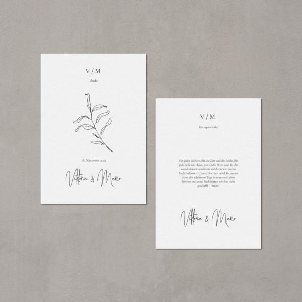Dankeskarte von JULISA gedruckt auf 100% Baumwollpapier in weiß