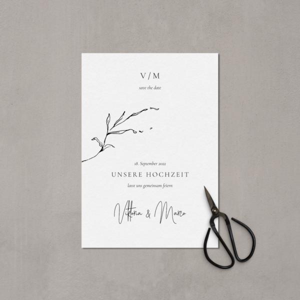Hochzeitspapeterie Save the Date Karte von hey-julisa.com Druck auf hochwertigem Baumwollpapier