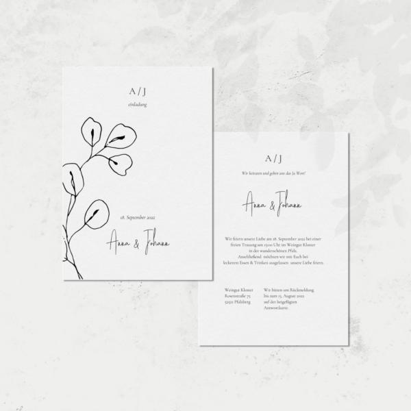 Einladungskarte von Hey-Julisa.com gedruckt auf 100% Baumwoll-Papier
