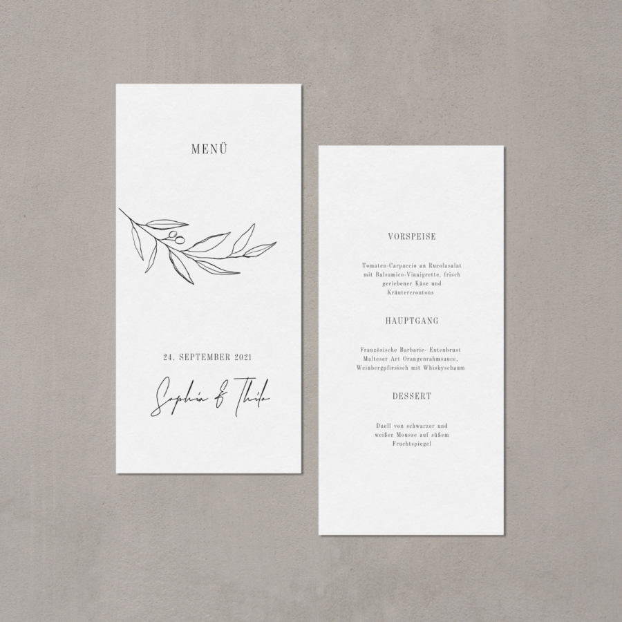 Hochzeitsmenükarte von Teresa Casamonti in floralem Design - JULISA