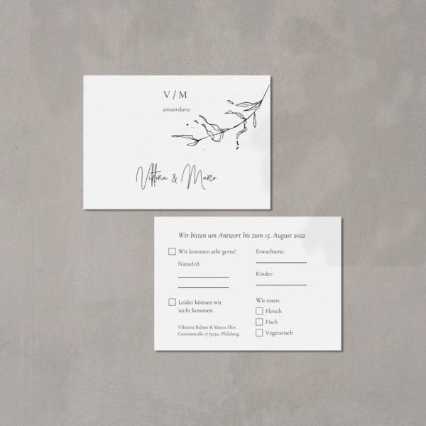Antwortkarte Hochzeit gedruckt auf 100% Baumwollpapier von hey-julisa.com