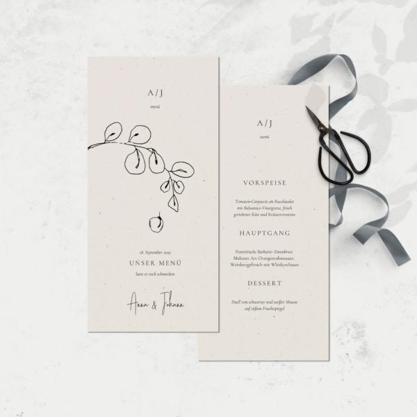 Hochzeitsmenükarte gedruckt auf hochwertigem Birkenholz Naturpapier von JULISA