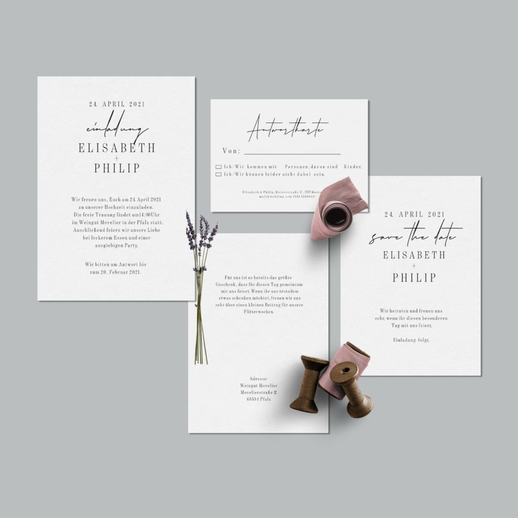 Hochzeitspapeterie Einladungskarten Set Movelier von hey-julisa.com