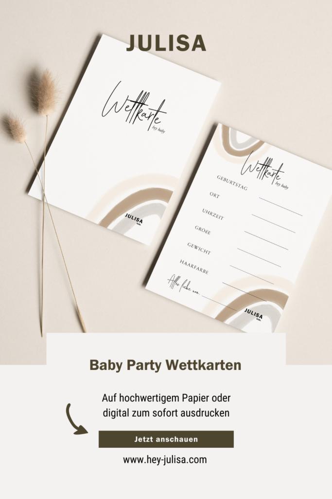 Baby Party Wettkarten - hey-julisa.com